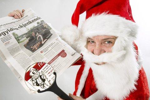PÅ PLASS: Fra og med mandag kan du begynne å lete i Glåmdalens spalter. Ett eller annet sted har nemlig nissen gjemt seg igjen, og det vil han gjøre hver dag til og med julaften.FOTO: JENS HAUGEN