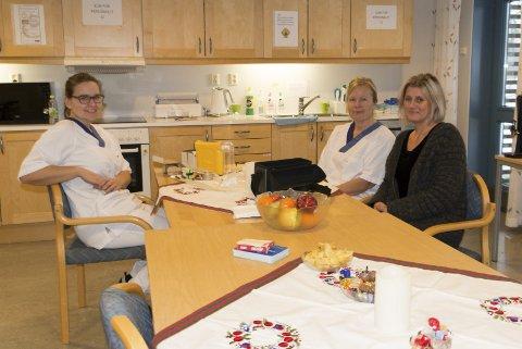 FORNØYDE: Personalet var godt fornøyde med lokalene til den nye sykehjemsavdelingen da de tok den i bruk i januar. Her er (f.v.) teamleder Lene Solberg, hjelpepleier Titti Lett og enhetsleder Sissel Sætherskar.