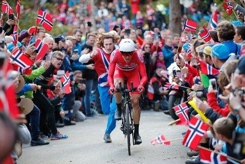 MEST POPULÆR: Edvald Boasson Hagen var publikumsfavoritten til de aller fleste tilskuerne som klamret seg fast langs veien opp til Fløyen. Temporittet ble en stor suksess, sjøl om mange var kritiske til VM-løypa i forkant.