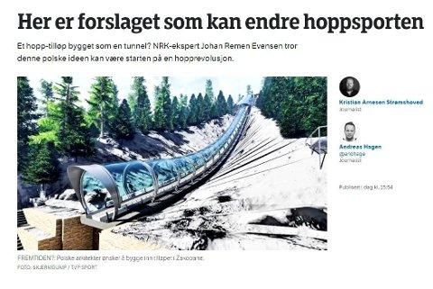 KAN BLI FRAMTIDA: Slik presenterer nrk.no den polske ideen til framtidad ovarenn i skihopp.
