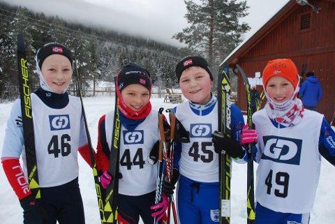 RASKE MIDTDØLER: Gaute Hernæs Doseth (f.v.), Knut Lexander Ulberg, Håvard Kraggerud Wadahl og Simen Andersstuen holder stor fart i 12-årsklassa.