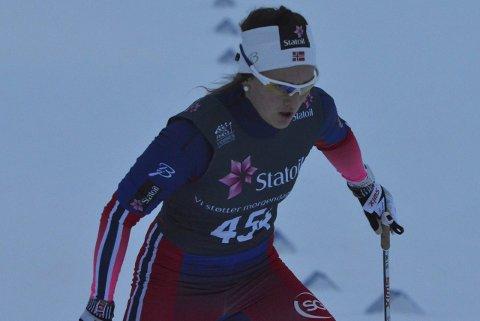 STERK AVSLUTNING: Barbro Kvåle var nummer fire da 50 meter gjensto. Så fant hun en åpning mellom flere løpere og spurtet inn til seier. Arkivfoto: Arvid Holmlund