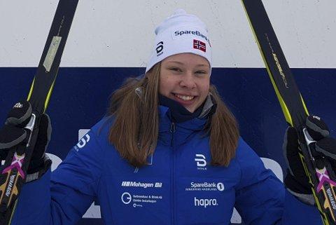 VELDIG GLAD: Anna Heggen fra Harestua IL var kjempefornøyd med niendeplassen på fem kilometer fri teknikk i Hovedlandsrennet. Foto: Privat