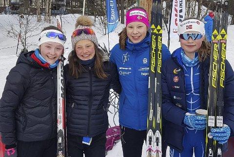 BRONSE: Opplands førstelag ble nummer tre på 4 x 3,75 kilometer stafett. Fra venstre: Julie Egeberg Moger, Hedda Bakkemo, Anna Heggen, Eivor Melbybråten.