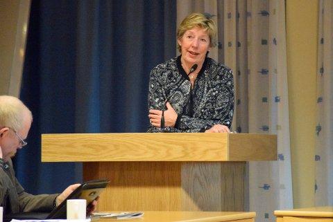 Rådmann i Jevnaker, May-Britt Nordli, i kommunestyret.
