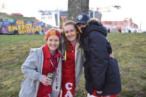 Ida Undrum (f.v.), Camilla Lund og Sofie Forsstrøm gleder seg til å være på landstreff på festningen.