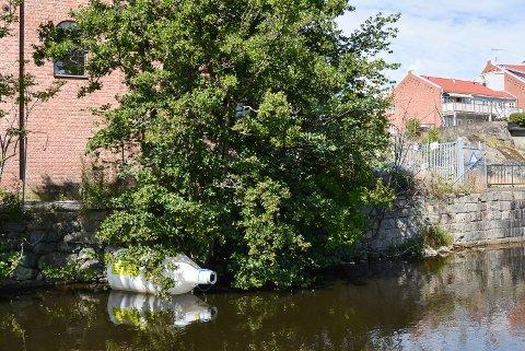 """Denne flaskeposten er sjøsatt av Kjelle videregående skole i Aurskog-Høland. De vil ha fokus på et rent vassdrag. Nå er den """"strandet"""" ved Rema 1000 Tistedal."""