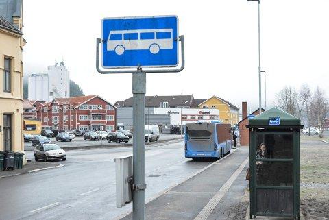BLÅ BUSSER: De blå bussene som går i ringruter i Halden, har hatt flere passasjerer hittil i år sammenlignet med i fjor. Det er i tård med utviklingen i busstrafikken ellers i fylket.