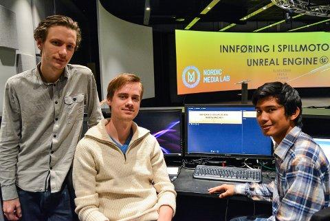 HÅPER PÅ STOR INTERESSE: Smart Innovation  Norway arrangerer kurs i spilldesign og innføring i spillmotoren Unreal Engine. Marius Elgsaas (f.v.), Victor Lunde og Chakkrit Hansen er kursholdere og initiativtakere, og de håper å fylle opp alle 50 plassene. – Spilldesign er en voksende industri også i Norge, men det er lite fokus på det i Østfold, så vidt vi vet. Det vil vi gjøre noe med, sier trioen.