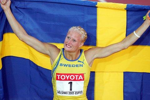 FRIIDRETTSYNDLING: Carolina Klüft dominerte sjukamp på verdensbasis i mange år. Til HA skryter den svenske yndlingen av Henriette Jæger, men er samtidig forsiktig med å bruke for store ord.