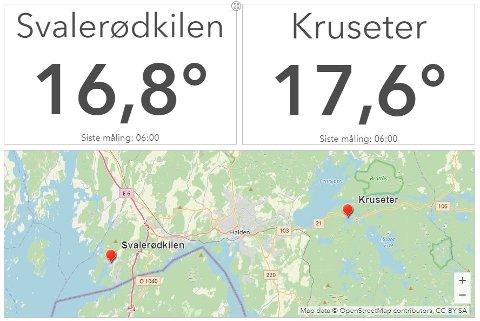 LIVE BADETEMPERATUR: Nå kan du fra egen stue sjekke badetemperaturen på i Svalerødkilen og Kruseter.