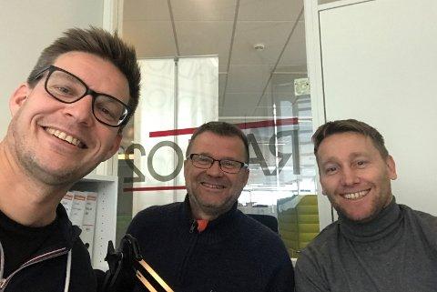 I STUDIO: Ingolf Olsen (t.v.), Odd Kåre Grøttland og programleder Terje Flateby.