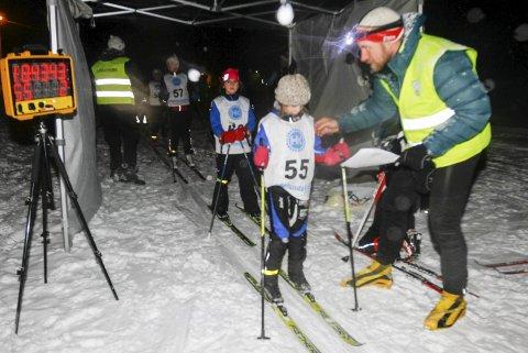 Bildet er fra lysløypekarusellen i Vefsn, med Marie Osheim, Kjærstad på startstreken.
