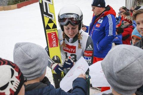 AVSLUTTET: Anette Sagen etter sitt siste nasjonale renn. Det var i NM på Notodden i 2015 at hun avsluttet en hoppkarriere som startet tidlig på 2000-tallet.  FOTO: JON WIK