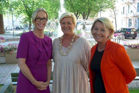 Innovasjon Norge-direktør Anita Krohn Traaseth, finansminister Siv Jensen og næringsminister Monica Mæland annonserte i dag forslag om å styrke norsk skaperkraft med 100 millioner ekstra.