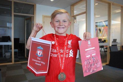 LYKKELIG: Sander Johansen ble veldig glad da han ble tatt ut til å trene med akademiet til Liverpool FC. Foto: Trond Ivar Lunga