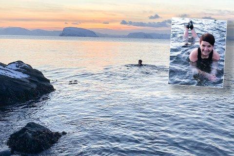NATURSKJØNNE OMGIVELSER: Vibeke Nilsen tok seg en svømmetur i minus seks grader i lufta. Foto: Trond Ivar Lunga