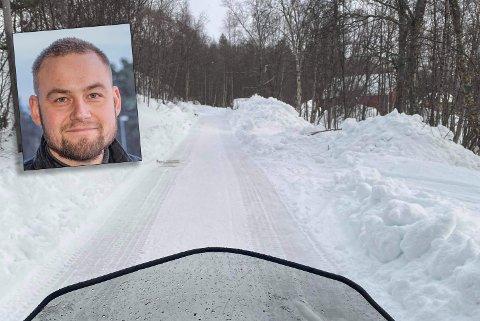 Dette synet møtte styreleder i Rafsbotn Snøscooterforening, Andreas Gustaf Jørstad Pahlberg (innfelt).