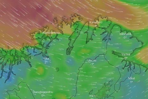 TREFFER KYSTEN: Slik så vinden ut omtrent mellom klokken 11 og 13 søndag. Jo mørkere farge, dess mer vind.