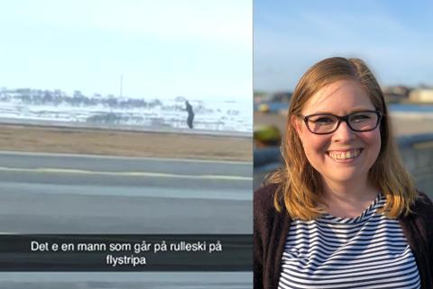 VADSØ LUFTHAVN: Christine Nilssen (31) måtte vente i tre timer på Vadsø Lufthavn før flyet gikk videre. Det skulle ikke være ten et forbausende syn.