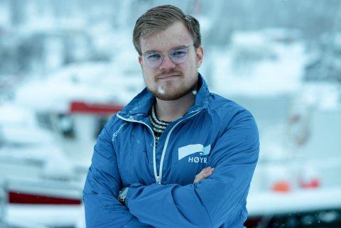 SIER NEI: Finnmark Høyres Vetle Langedahl sier nei til utvidelse av Nord-Norgebanen. Foto: Sander Øvergård