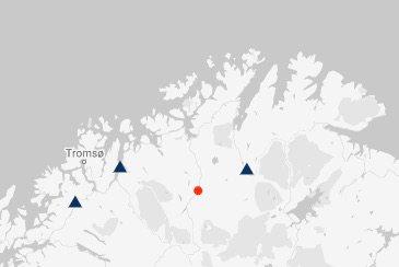 JORDSKJELV: Den røde prikken i Kautokeino kommune, er der jordskjelvet fant sted.