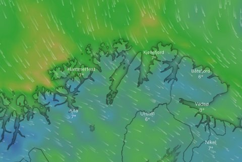 LAVERE TEMPERATUER: Onsdag ventes det at vinden kommer mer fra nordlig retning, og det blir gradvis lavere temperaturer.