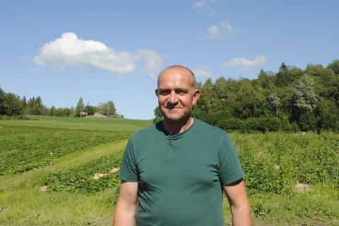 SOMMERPRATEN: John Erling Westerhus planlegger å levere jordbær til alle som vil ha det i løpet av sommeren.