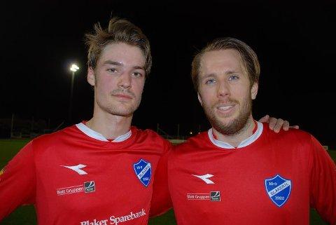 MÅL SOM GA HÅP: Med hvert sitt praktmål ga Martin Mathisen (til venstre) og Mattias Karlsson Blaker håp om poengfangst mot seriefavorittene. Men så raknet det på tampen og 2-1 ble til 2-4.