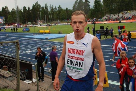 VEL BLÅST: Markus Einan forlot EM-arenaen i Gävle mellomfornøyd. Han løp for medalje, men var 43 hundredeler unna. Alle foto: Jon Wiik.