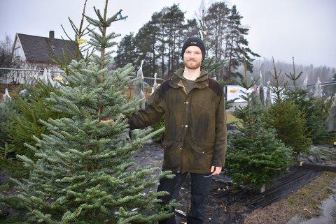 – Vi selger omtrent like mye av gran og edelgran, forteller Oddgeir Gedde, her avbildet ved familiebedriftens juletreutsalg på Bjørkelangen. Foto: Trym Helbostad