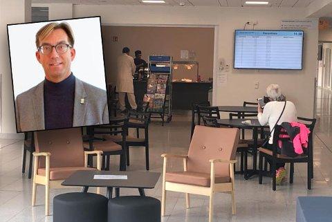 KORT: Rune Aale-Hansen (innfelt) reagerer på kort åpningstid på kantina ved Kirkenes sykehus.