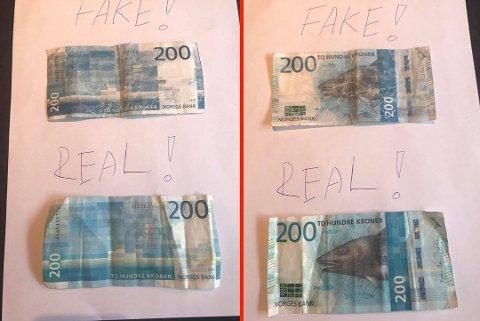 EKTE OG FALSK: Seddelen i toppen av bildet ble brukt på restauranten Harbour i Tønsberg. Serienummeret er identisk med det politiet advarer mot. Under ser du hvordan en ekte ser ut. (Foto: Harbour)