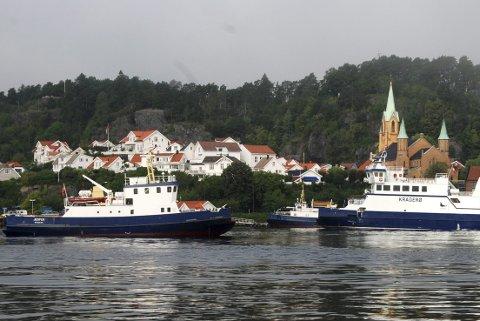 Samlet: Kragerø Fjordbåtselskaps tre ferjer. «Naus», «Jesper» og «Kragerø». Arkivfoto: Elin Frisch Selaas