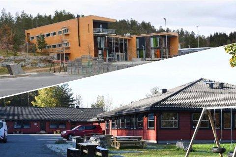TESTES: Elever ved Helle skole (øverst) og Sannidal ungdomsskole har testet seg for covid-19.