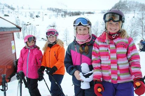 Madel Søllesvik, Ingrid Omvik, Mia Huke Hjelmeland og Elianne Joy Hjelmeland var berre nokre av dei som kosa seg i Fjellhaugen søndag.