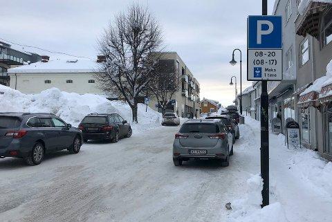 Tanken med parkeringsskiver på Vestsida var nok god, men flere mener at løsningen nå må skiftes ut med avgiftsparkering igjen. Deriblant Kongsberg Næringsforum.