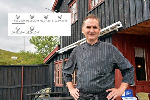 FORNØYD: Nils Helge Tufto er fornøyd med rekka av smilefjes fra mattilsynet.