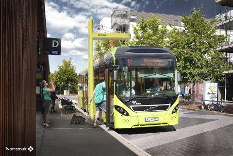 Ny busslinje: På den splitter nye ruta mellom Lierbyen skole og Gulskogen senter blir det elektriske busser. Linje 51 (bildet) mellom Drammen og Mjøndalen har blitt betjent av elbusser en god stund allerede.