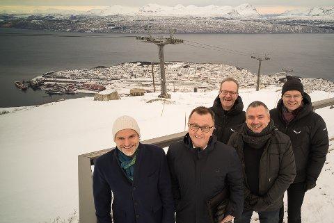 Fornøyde eiere: Styreleder Eirik Frantzen (fv), Roger Bergersen i Forte narvik, daglig leder Florian Aschwanden, rådmann Lars Skjønnås og Ragnar Norum i Forte Narvik