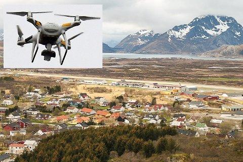 FARLIG FLYGING: Mandag denne uka fikk Leknes lufthavn melding om en drone som fløy bare 1200 meter fra flyplassen. Tillatte nedre grense er fem kilometer. Forholdet er politianmeldt.
