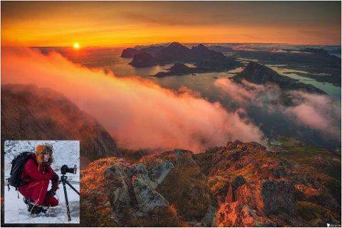 Dette er bildet som Tobias Eskeland (innfelt) tok på toppen av Stornappstind i fjor sommer.