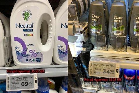 Såpe og hygiene selges for vesentlig lavere priser over grensen.