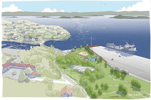 SLIK BLIR DET: Buffersonen ved Ormsund havn skal opparbeides til aktivitetspark, bad og grøntområde. Skisse: Bar Bakke