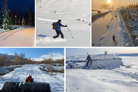 Snø i oktober: På Sjusjøen, Oppdal og Grotli kan du nå ta sesongens første skitur. Aller best er forholdene i Sjusjøen, der det er preparert løyper både for skøyting og klassisk.