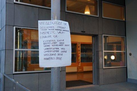 Valglokalet på Kastellet er stengt.