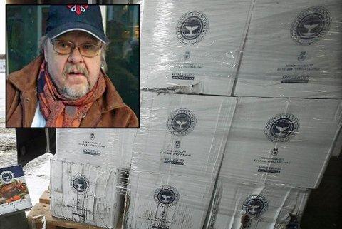 PALLER PÅ PALLER: Bjørn Martin Eklo er klar til å lasse kjøttet i trailere og sende det nordover. Nå vil han vite hvor mange i Tromsø som vil ha gratis hvalkjøtt.
