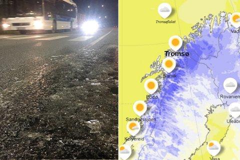 BRRR: Det er aller kaldest i indre strøk, men også i Tromsø har det fredag vært frostnatt og is på veiene. Foto: Yr/Stian Saur
