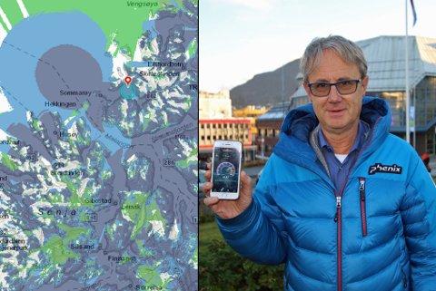 GOD DEKNING: De aller fleste steder i Troms har god dekning, men det er fremdeles enkelte «hvite felt». På kartet er det markert blått der det er god 4G-retning, grønt der det er 2G og hvitt der det er manglende dekning. Bjørn Amundsen, dekningsdirektør i Telenor, reiste i fjor høst rundt for undersøke dekningen i fylket.