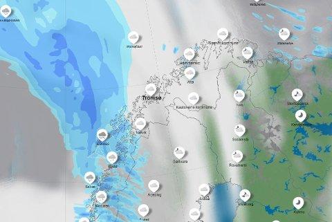 SLUDD: Onsdag får vi et værskifte, og kombinasjon mildvær og mye byger gjør at man kan forvente sludd i hele Nord-Norge.